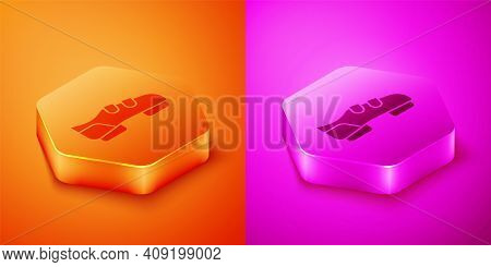 Isometric Triathlon Cycling Shoes Icon Isolated On Orange And Pink Background. Sport Shoes, Bicycle