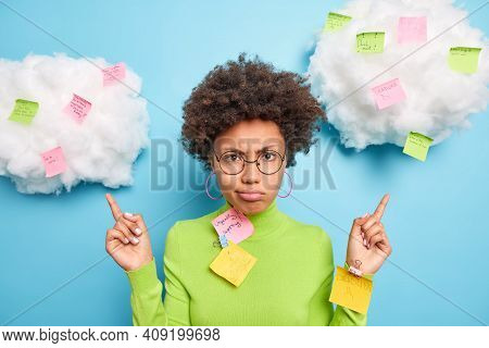 Sad Frustrated Afro American Woman Point Above On Clouds With Sticky Notes Written Tasks To Do Busy