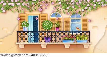 Spring Old Town Vector Balcony Window Facade Illustration, Blossom Sakura Branches, House Plants, Br