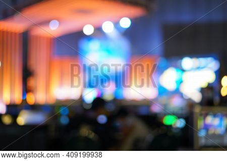 Bokeh Light Event Exhibition Business Concept; Abstract Blurred Of Defocused Convention Exhibit Trad