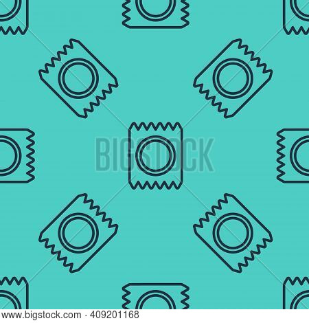 Black Line Condom In Package Safe Sex Icon Isolated Seamless Pattern On Green Background. Safe Love