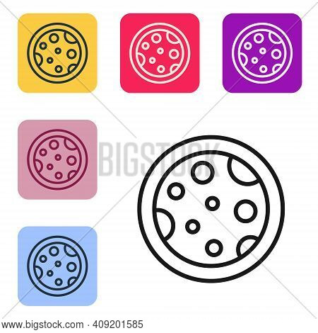 Black Line Petri Dish With Bacteria Icon Isolated On White Background. Set Icons In Color Square But