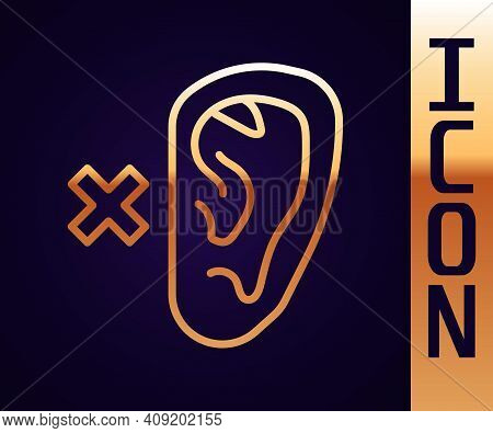 Gold Line Deafness Icon Isolated On Black Background. Deaf Symbol. Hearing Impairment. Vector