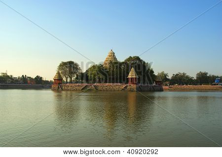 Traditional Hindu Temple On Lake In The City Center, South India, Kerala, Madurai