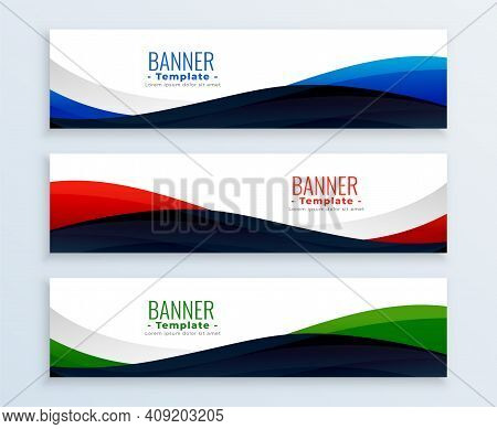 Wavy Web Business Banners Headers Set Vector Design Illustration