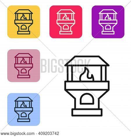 Black Line Brick Stove Icon Isolated On White Background. Brick Fireplace, Masonry Stove, Stone Oven