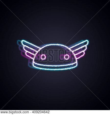 Glowing Neon Line Helmet With Wings Icon Isolated On Black Background. Greek God Hermes. Vector