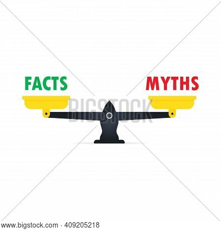 Scale With Decision Icon. Fact Or Myth. Concept Of Disinformation Sign Or Truthful And Untruthful Da