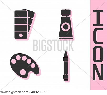 Set Wax Crayons For Drawing, Palette, Palette And Tube With Paint Palette Icon. Vector