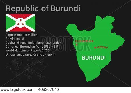 Highly Detailed Burundi Map With Flag, Capital And Small Map Of The World