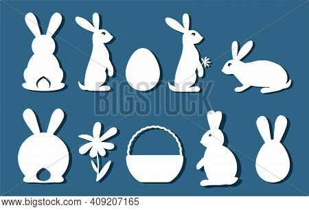 Bunny Set. Easter Bunny For Laser Cutting On Red Background. Icons For Greeting Card. Vector Illustr