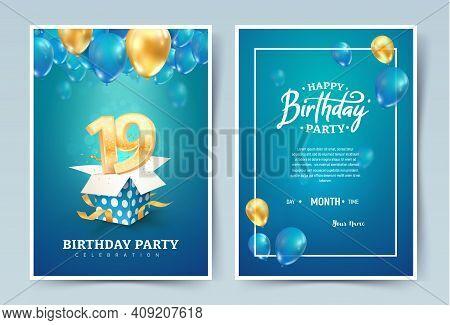 19th Years Birthday Vector Invitation Double Card. Nineteen Years Anniversary Celebration Brochure.