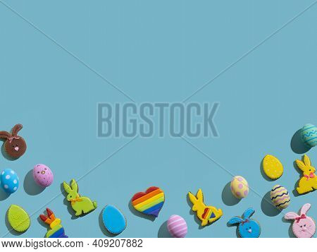 Happy Easter. Holiday Banner. Festive Decoration. Greeting Card. Gingerbread Bunny Color Egg Lgbtqia