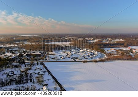 Wonderful Winter Scenery Roof Houses Snowy Covered On The Aerial View With Residential Small America