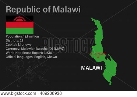 Highly Detailed Malawi Map With Flag, Capital And Small Map Of The World