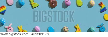Easter Banner. Colorful Frame. Festive Ornament. Gift Card. Gingerbread Cookie Bunny Painted Pattern