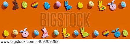Easter Banner. Holiday Frame. Festive Design. Invitation Card. Bright Gingerbread Biscuit Bunny Colo