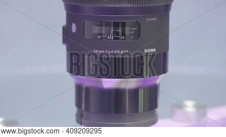 Moscow, Russia - December, 2020: Close-up Of Stabilizer Parts For Camera. Action. Details And Mechan