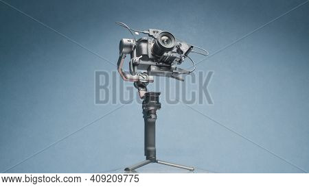 Moscow, Russia - December, 2020: Electronic Stabilizer For Professional Camera. Action. Robotic Stea