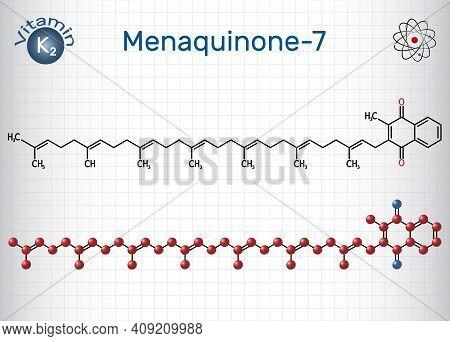 Menachinon-7, Mk-7 Molecule. It Is Vitamin K2, Menaquinone. Structural Chemical Formula And Molecule