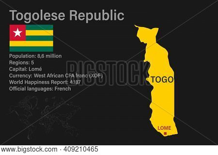 Highly Detailed Togo Map With Flag, Capital And Small Map Of The World