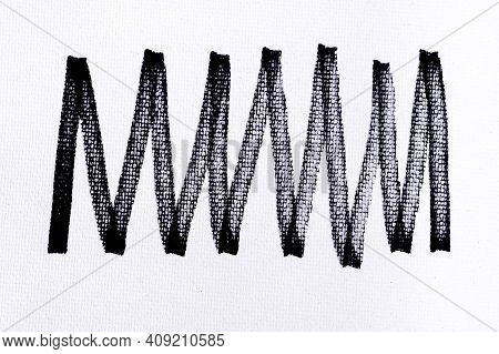 Black Ink Shape On Watercolor Paper Texture Background