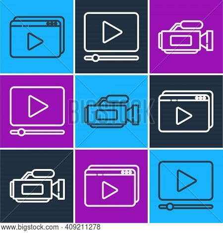 Set Line Online Play Video, Cinema Camera And Online Play Video Icon. Vector