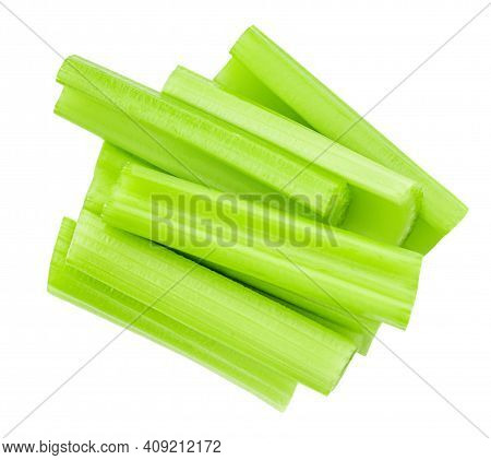 Celery Sticks  Isolated On White Background. Fresh Celery Stalk Close-up