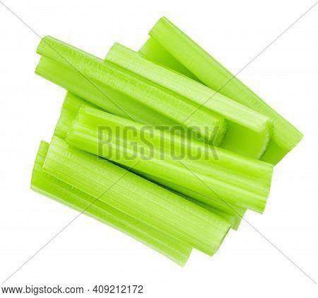Celery Sticks  Isolated On White Background. Fresh Celery Stalk Close-up