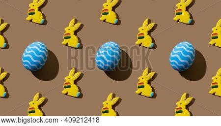 Pride Parade. Abstract Background. Lgbtqia Solidarity. Freedom Rights. Yellow Easter Bunny With Rain