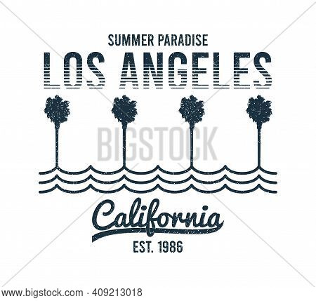 California, Los Angeles T-shirt Design With Palm Trees And Waves. Typography Graphics For Tee Shirt