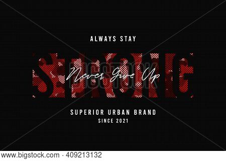 Slogan Strong For T-shirt Design With Red Camouflage Texture. Tee Shirt Design With Camo And Slogan.