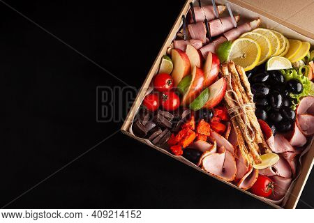 Gastronomic Boxing, Home Delivery. Catering. Empty Space For Text, A Gift For February 23, A Birthda