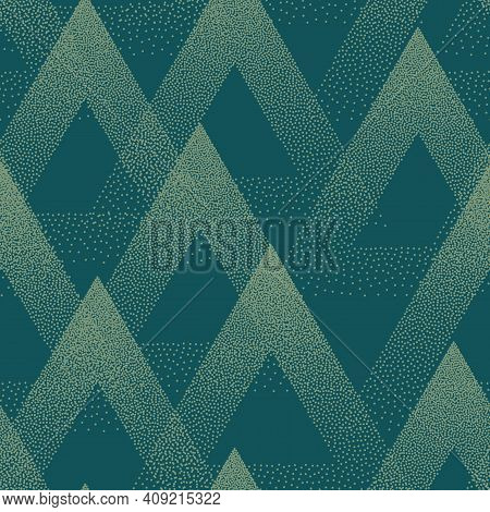 Trendy Seamless Pattern Stippled Triangles Texture Vector Turquoise Abstract Background. Hand Drawn