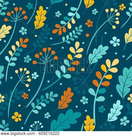 Vector Seamless Autumn Leaves Pattern In Rich Colors. Rowan And Viburnum Berries, The Oak Leaves, Sh