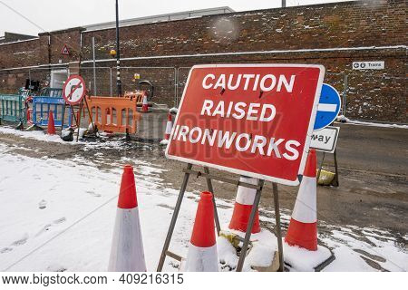 Grantham, England - February 9, 2021. Road Red Sign Saying