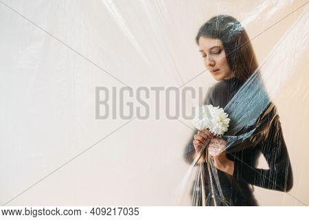 Defocused Female Portrait. Allergy Health Care. Difficulties Overcoming. Social Distancing. Sad Calm