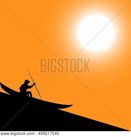 Vector Illustration Of A Black Silhouette Of A Man In A Hat With A Pole Sits On A Boat Reflecting In