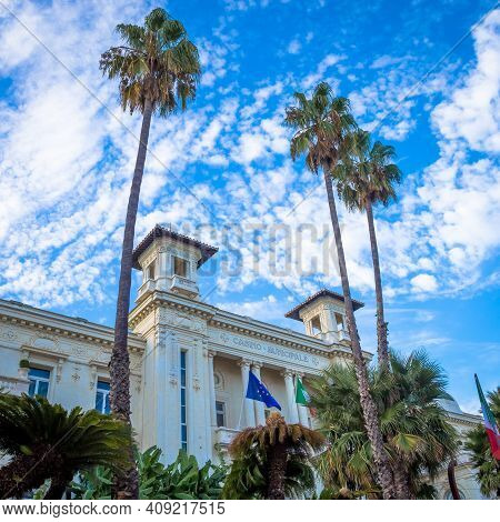 Sanremo, Italy - Circa August 2020: View Of The Sanremo Casino, One Of The Main Landmarks Of The Cit
