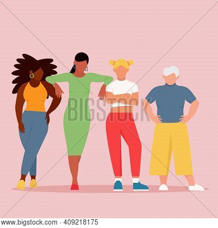 Women Of Different Ages And Ethnic Groups . Vector Concept Of The Struggle For Equality. Poster Of F