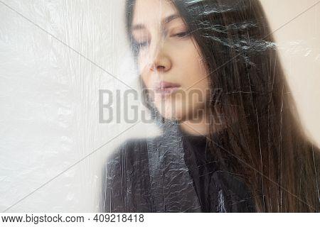 Hopeless Woman. Defocused Portrait. Depression Crisis. Social Isolation. Psychology Problem. Sad Lad