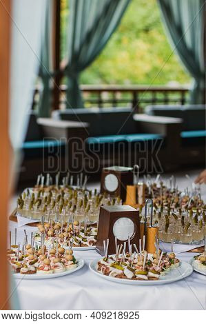 Catering Table Set Service At Restaurant Before Party.
