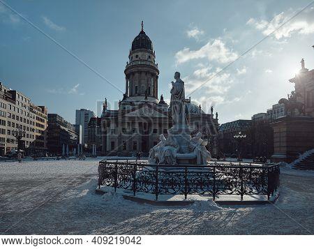 Gendarmenmarkt Square In Berlin With German Cathedral, Or Deutsche Dom In German. Schiller Monument,