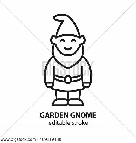 Garden Gnome Line Vector Icon. Sculpture Of Fairy Dwarf Sign.
