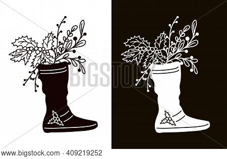 Winter Bouquet In A Boot. Stencil For Cutting, Burning Or Foiling