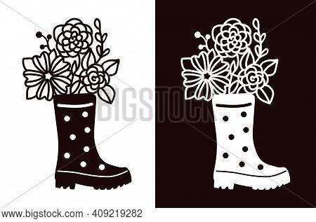 Rubber Boot With Polka Dots With A Bouquet Of Flowers. Stencil For Cutting, Burning, Painting, Etc