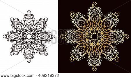 Circular Openwork Mandala In The Shape Of A Snowflake Or A Star. Single Line Cutting Design