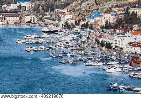 Sevastopol, Crimea - February 02, 2021: Winter View Of The Harbor In Balaklava Bay