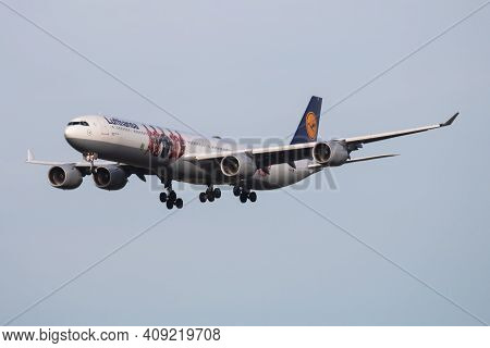 Munich, Germany - October 4, 2017: Lufthansa Special Livery Airbus A340-600 D-aihz Passenger Plane A