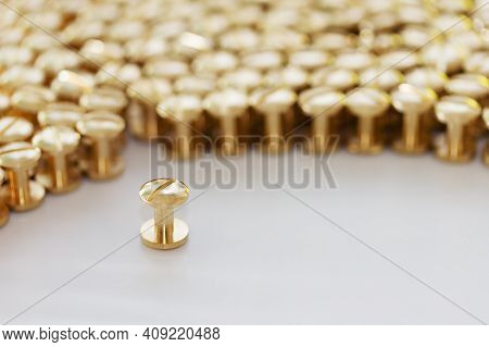 Metal Accessories For Haberdashery. Brass Screws. System Screw. Gold Cogs On A White Background. Con